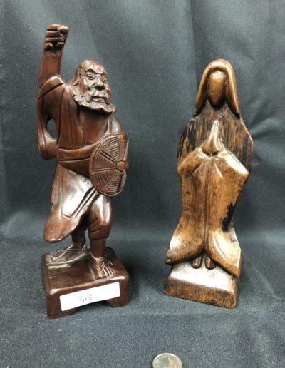 Wooden Praying Nun & Warrior